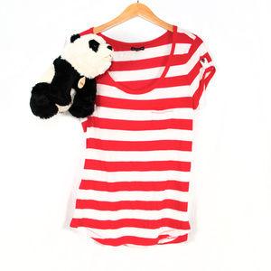 Red, white Express stripe short sleeve tee